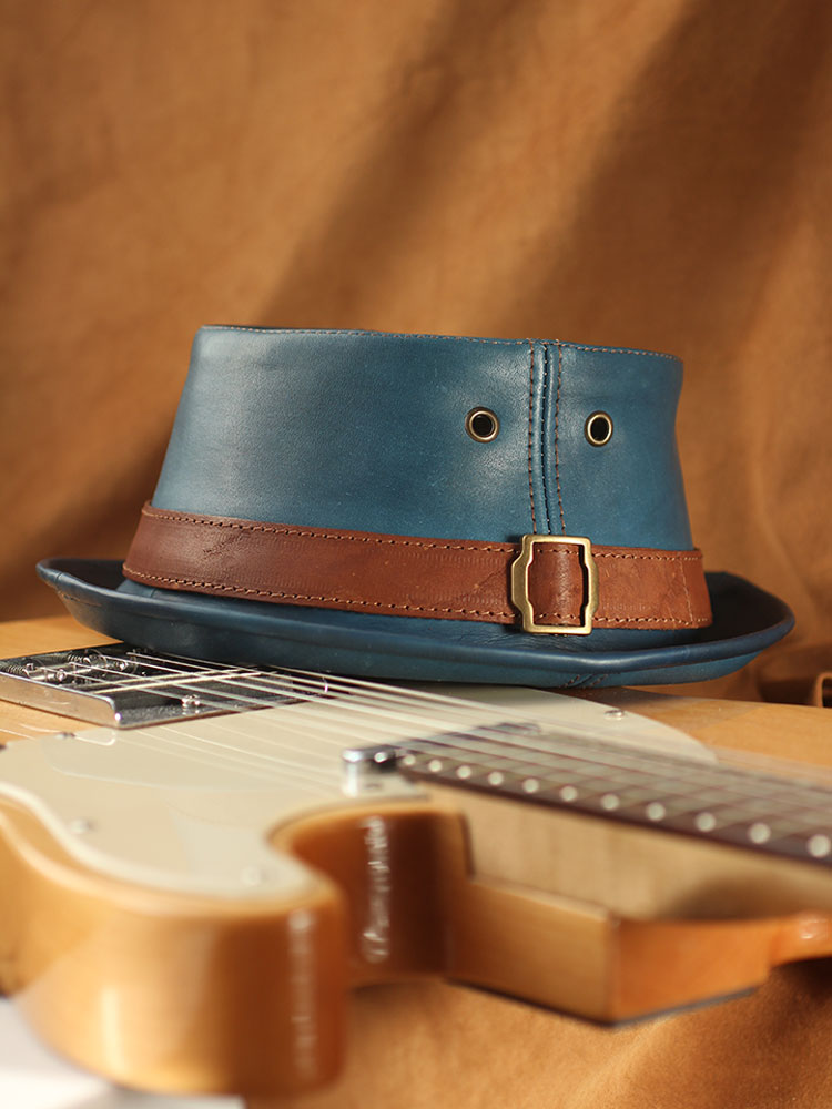 Waxed leather pork pie hat PPH-13