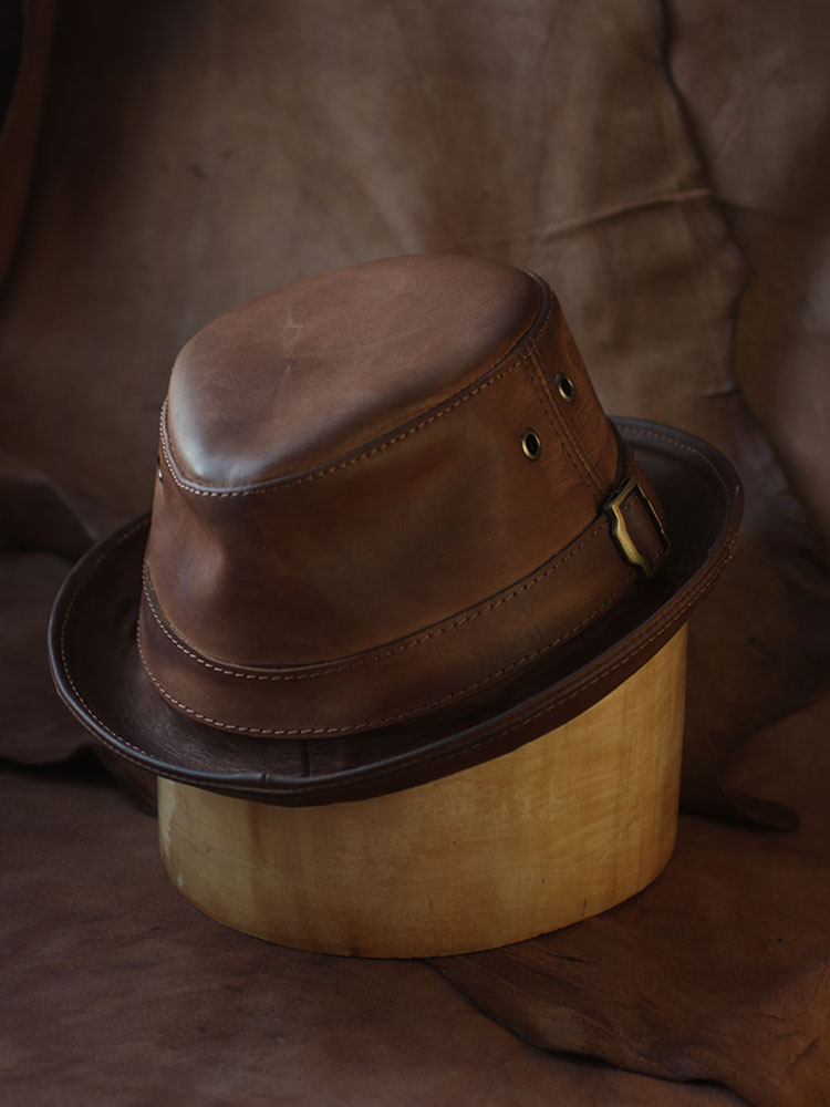 Leather trilby hat TRL-04