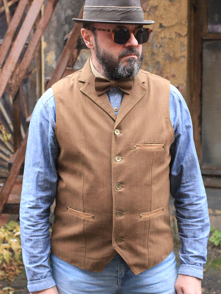 Old'n'Gold 05 men's denim waistcoat with lapels