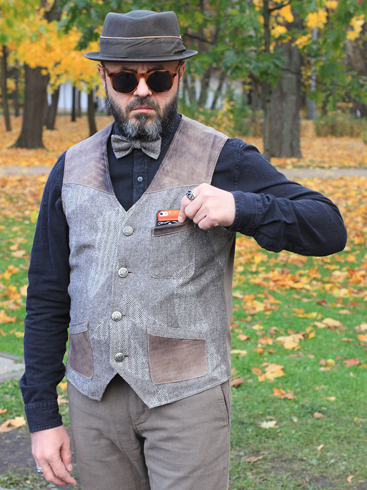 Charisma 03 men's tweed and leather waistcoat