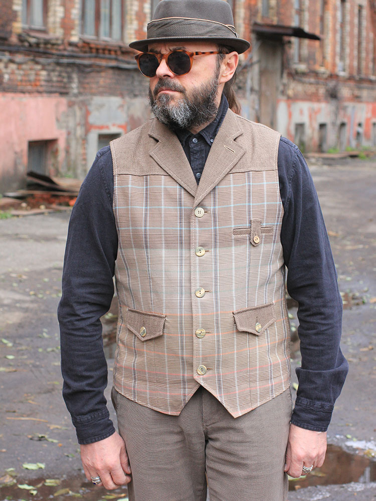 My Mom's Dude 03 cotton & wool men's waistcoat with lapels