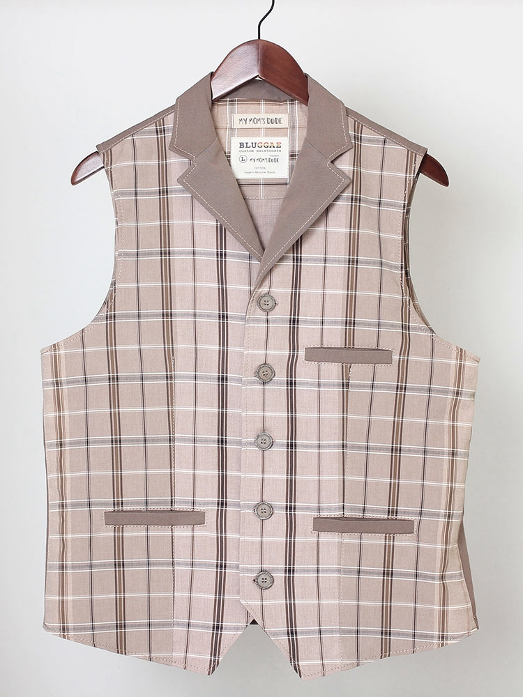 My Mom's Dude 02 cotton waistcoat with lapels