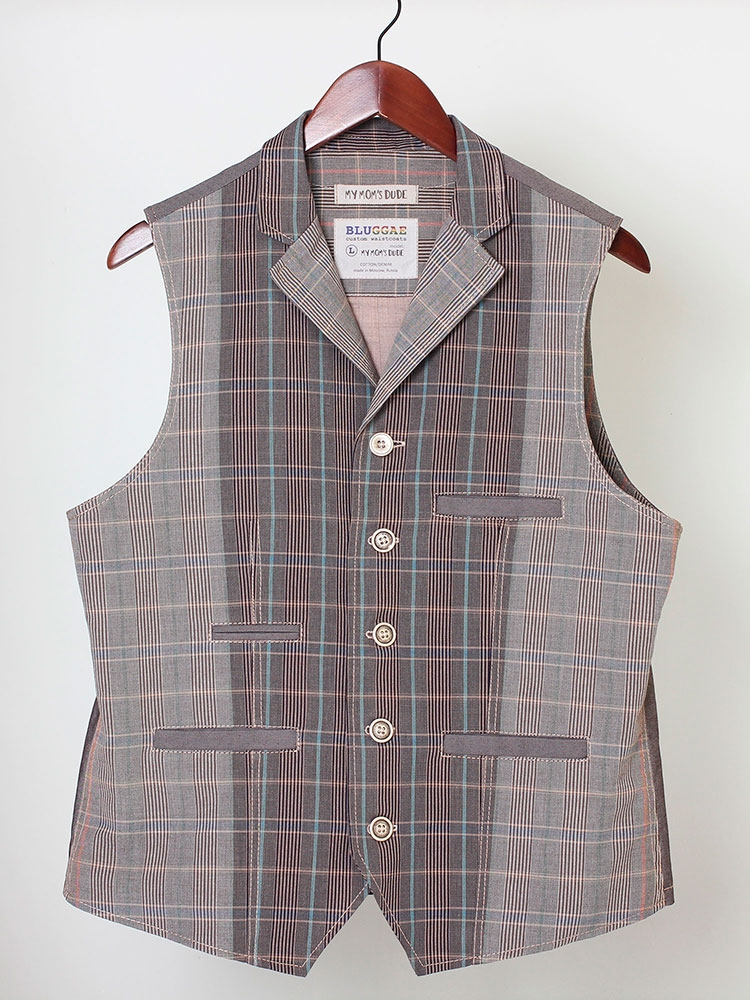 My Mom's Dude 05 men's cotton waistcoat with lapels