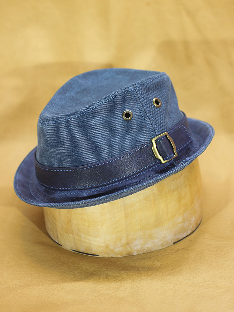 Summer blue cotton and leather trilby hat TRL-05