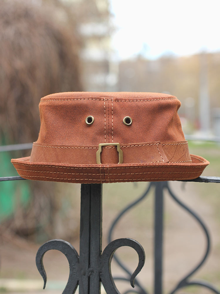 Summer denim and leather pork pie bucket hat PPH-20