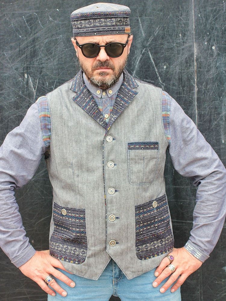 Twilight Blues 02 men's denim waistcoat with lapels