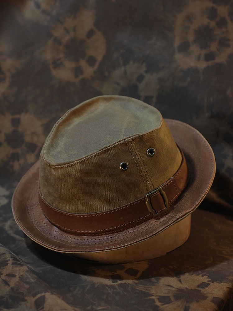 Waxed cotton canvas trilby hat TRL-01