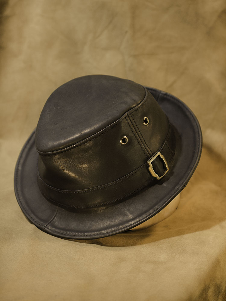 Waxed leather trilby hat TRL-02