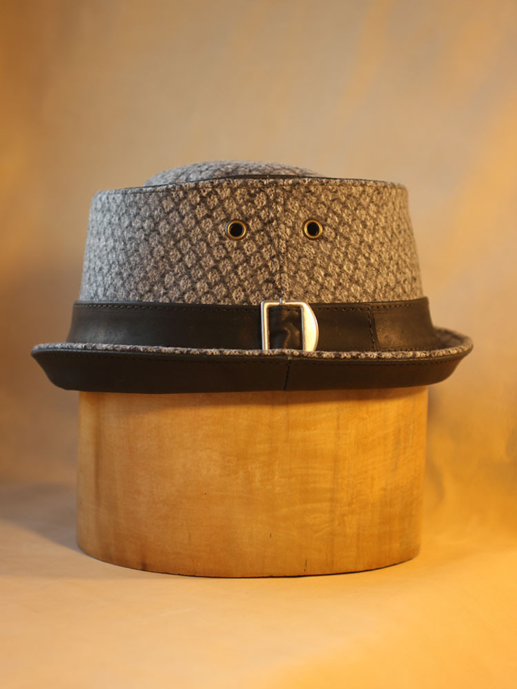 Wool and leather pork pie hat PPH-14